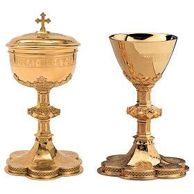 Calice Pisside Patena Molina incisione coppa salmo 115 in stile gotico coppa argento 925 dorato s1
