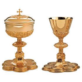 Calice e Patena Molina base medaglioni stile gotico argento massiccio 925 dorato s1