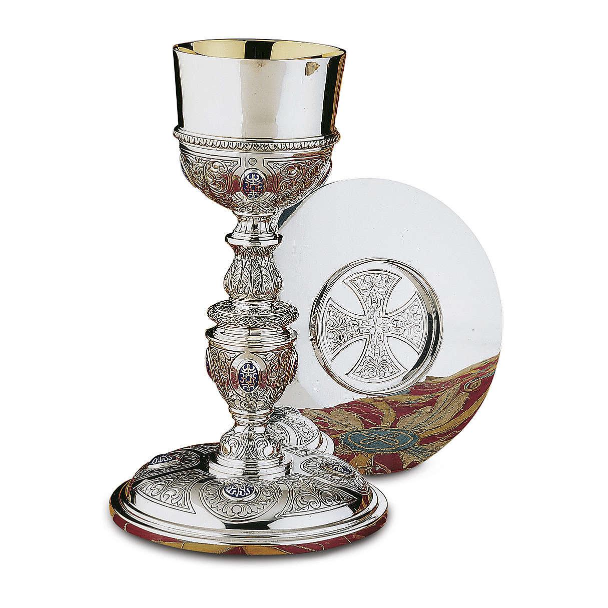 Calice Patena e Pisside Platereschi Molina cabochon argento massiccio 925 4
