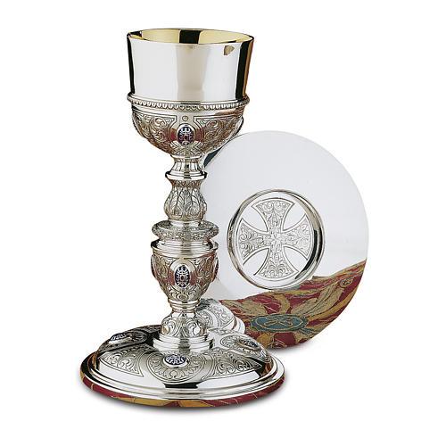 Calice Patena e Pisside Platereschi Molina cabochon argento massiccio 925 1