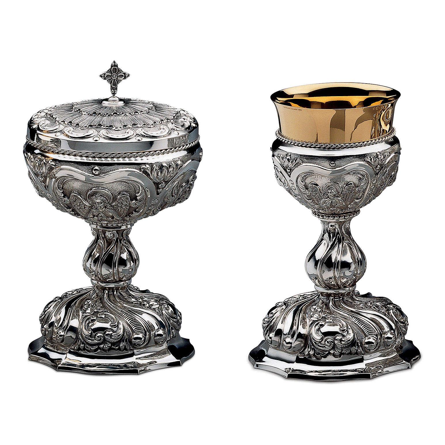 Calice Patena e Pisside Molina Barocco sbalzo ottone dorato 4