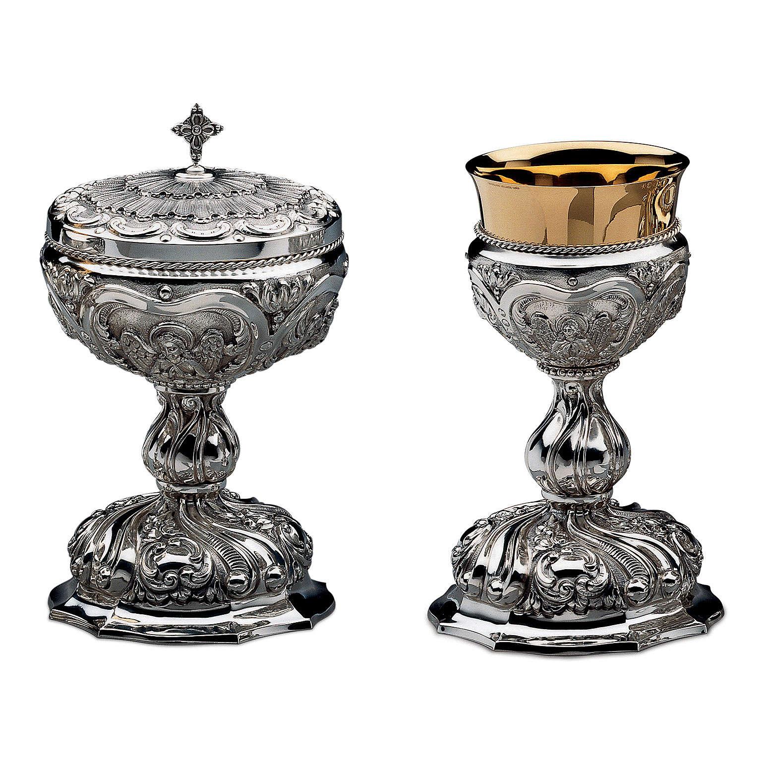 Calice Patena e Pisside Molina Barocco sbalzo ottone argentato 4