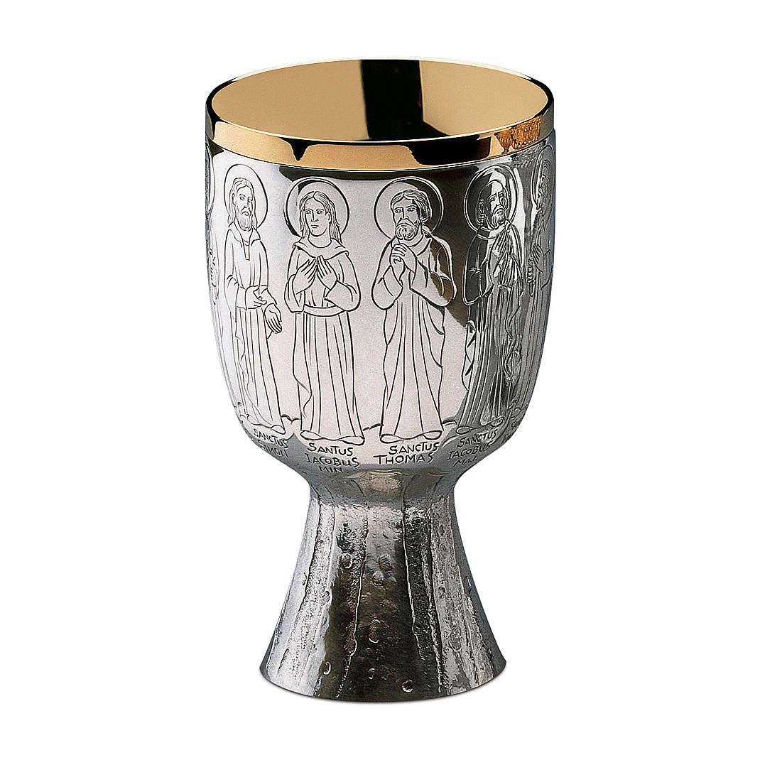 Calice Pisside e Patene Contemporanei Molina Apostoli ottone argentato 4