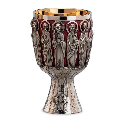 Calice e Patena Molina Contemporanei Cristo e Apostoli coppa argento 925 1