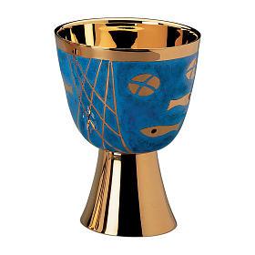 Calice Patena e Pisside Molina Contemporanei Pani e Pesci sfondo blu ottone dorato s1