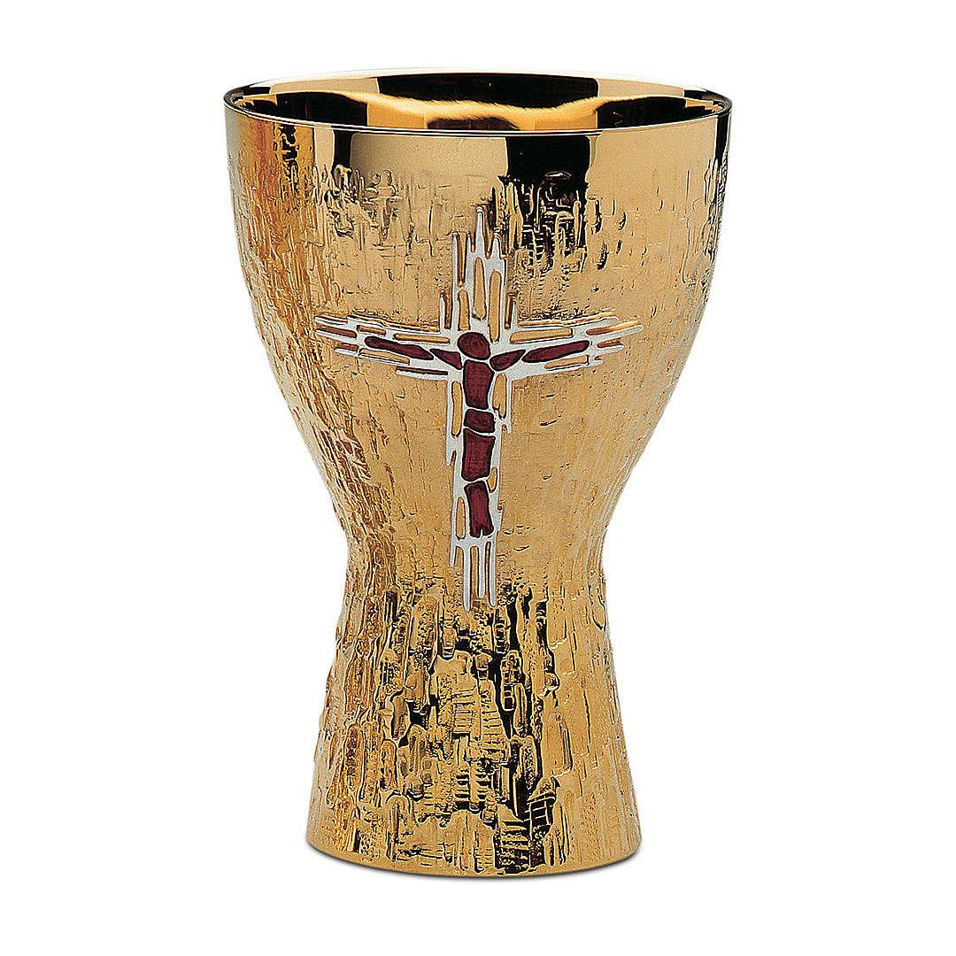Calice e Patena Contemporanei Molina Croce Corpus ottone dorato 4