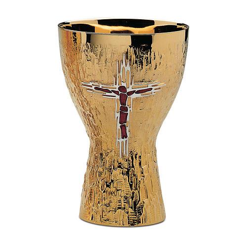 Calice e Patena Contemporanei Molina Croce Corpus ottone dorato 1
