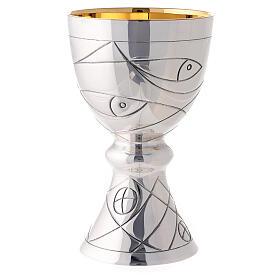 Calice e Patena Contemporanei Molina Pani Pesci e Reti argento con coppa argento 925