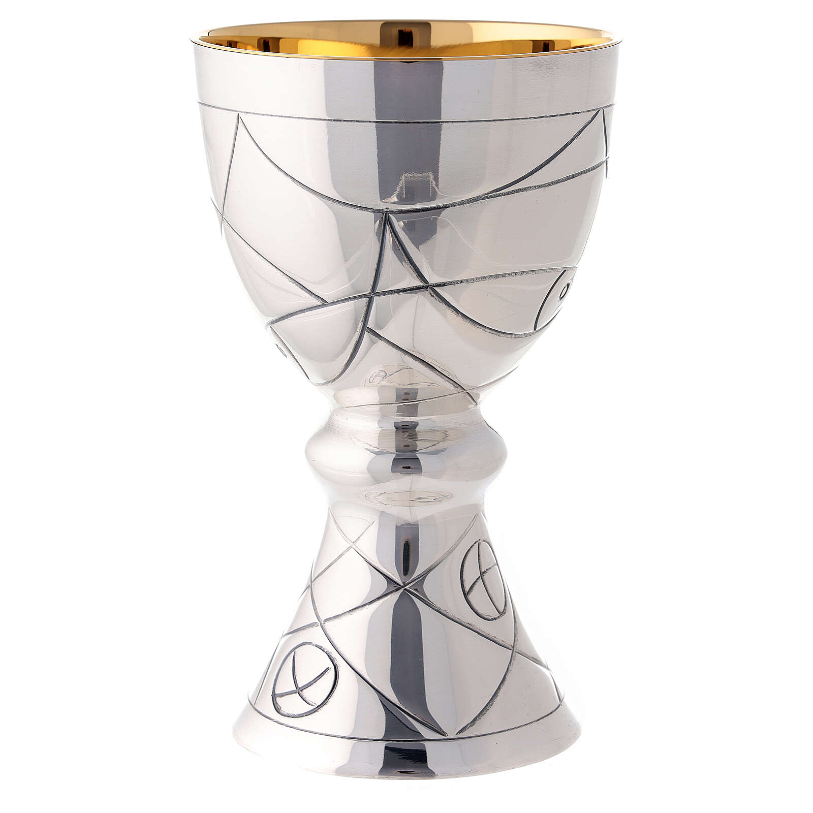 Chalice and paten in contemporary style Molina with bread fish and nets illustration with cup in 925 sterling silver 4