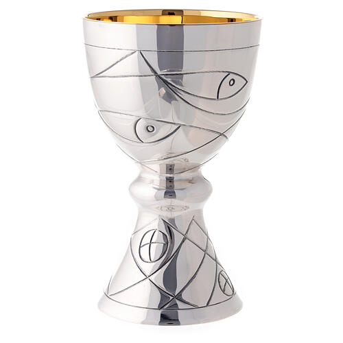Chalice and paten in contemporary style Molina with bread fish and nets illustration with cup in 925 sterling silver 2