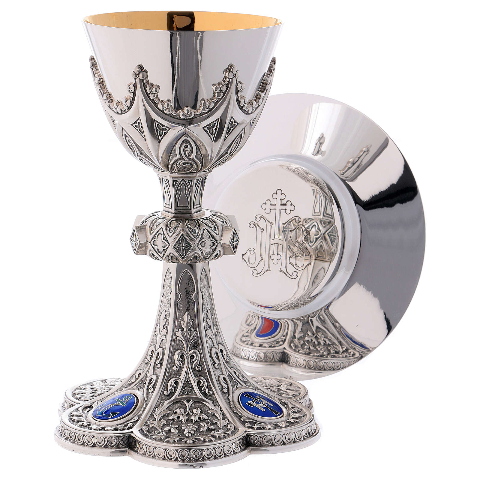 Chalice, paten and ciborium for offertory Molina with Gothic decoration and medallions in 925 solid sterling silver 4