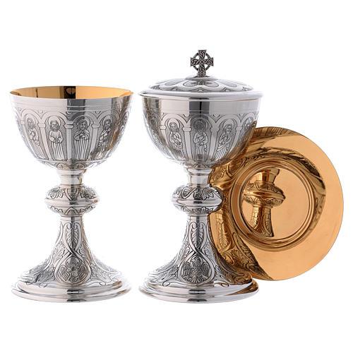 Calice Patena e Pisside Molina Apostoli Evangelisti argento massiccio 925 1