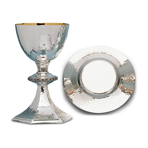 Calice Patena e Pisside Molina argento leggermente martellati in ottone 1
