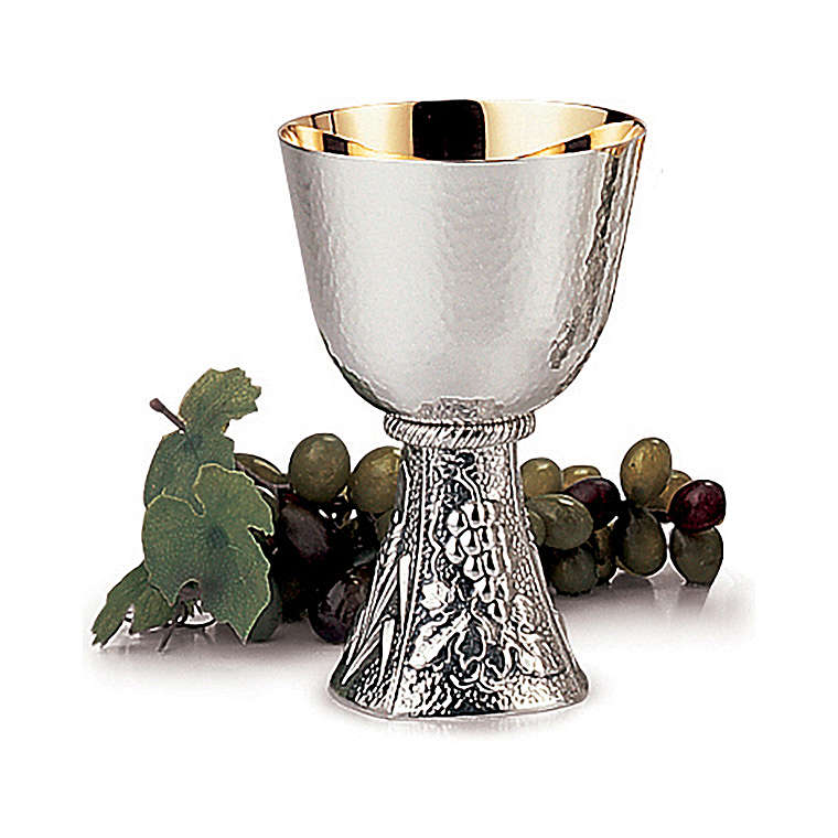 Calice Comunione Molina uva e spighe ottone argentato 4