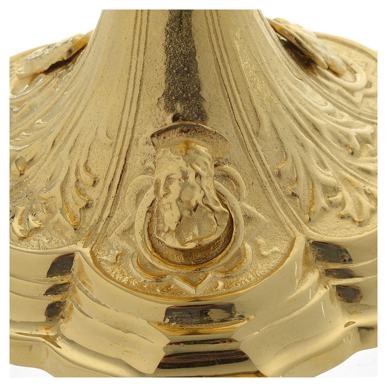 Pisside base volti Gesu Giuseppe Maria e motivo foglie ottone dorato 4