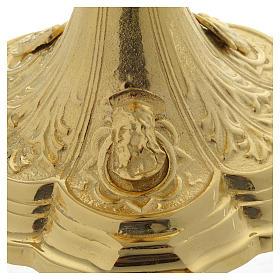 Pisside base volti Gesu Giuseppe Maria e motivo foglie ottone dorato s4