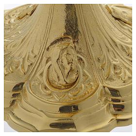 Pisside base volti Gesu Giuseppe Maria e motivo foglie ottone dorato s5
