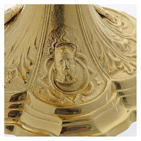 Pisside base volti Gesu Giuseppe Maria e motivo foglie ottone dorato s6
