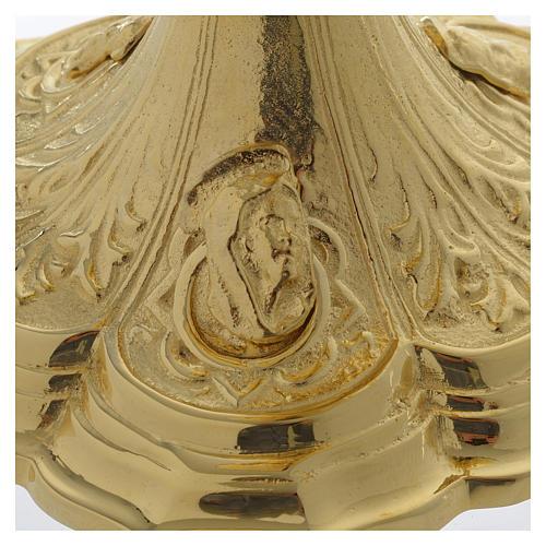 Pisside base volti Gesu Giuseppe Maria e motivo foglie ottone dorato 5