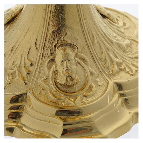 Pisside base volti Gesu Giuseppe Maria e motivo foglie ottone dorato 6