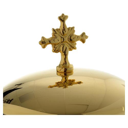 Pisside base volti Gesu Giuseppe Maria e motivo foglie ottone dorato 8