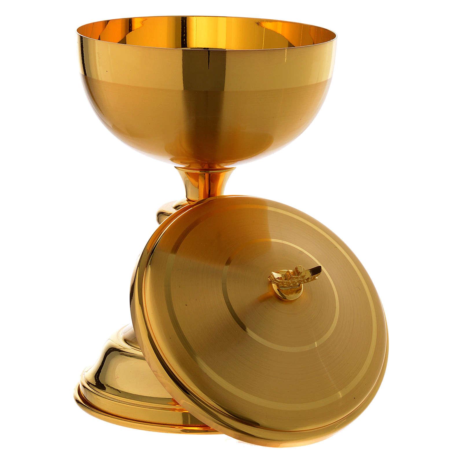 Calice e Pisside croce argentata ottone dorato 4