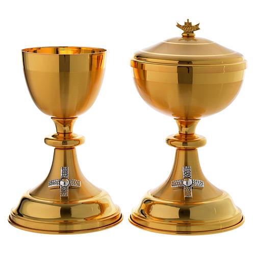 Calice e Pisside croce argentata ottone dorato 1