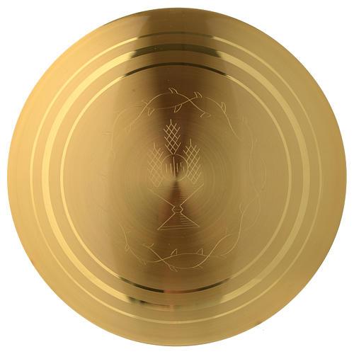 Patena incisa dorato liscia JHS incisa diam. 15 cm 2