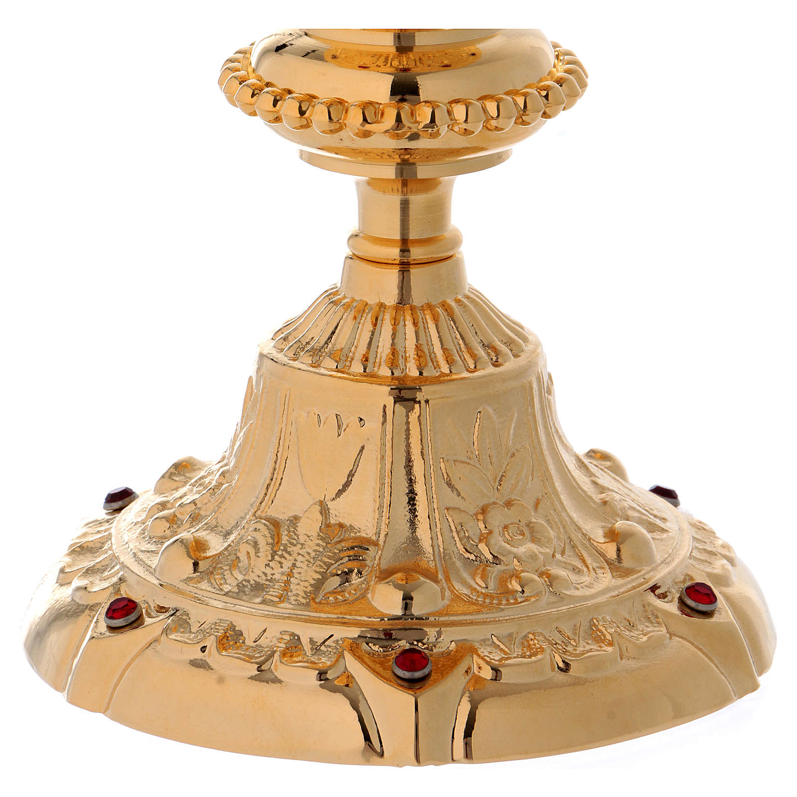 Baroque style Chalice in brass with red zircons, 8 in 4