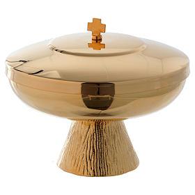 Ciborium for offertory in golden brass 10 cm s1