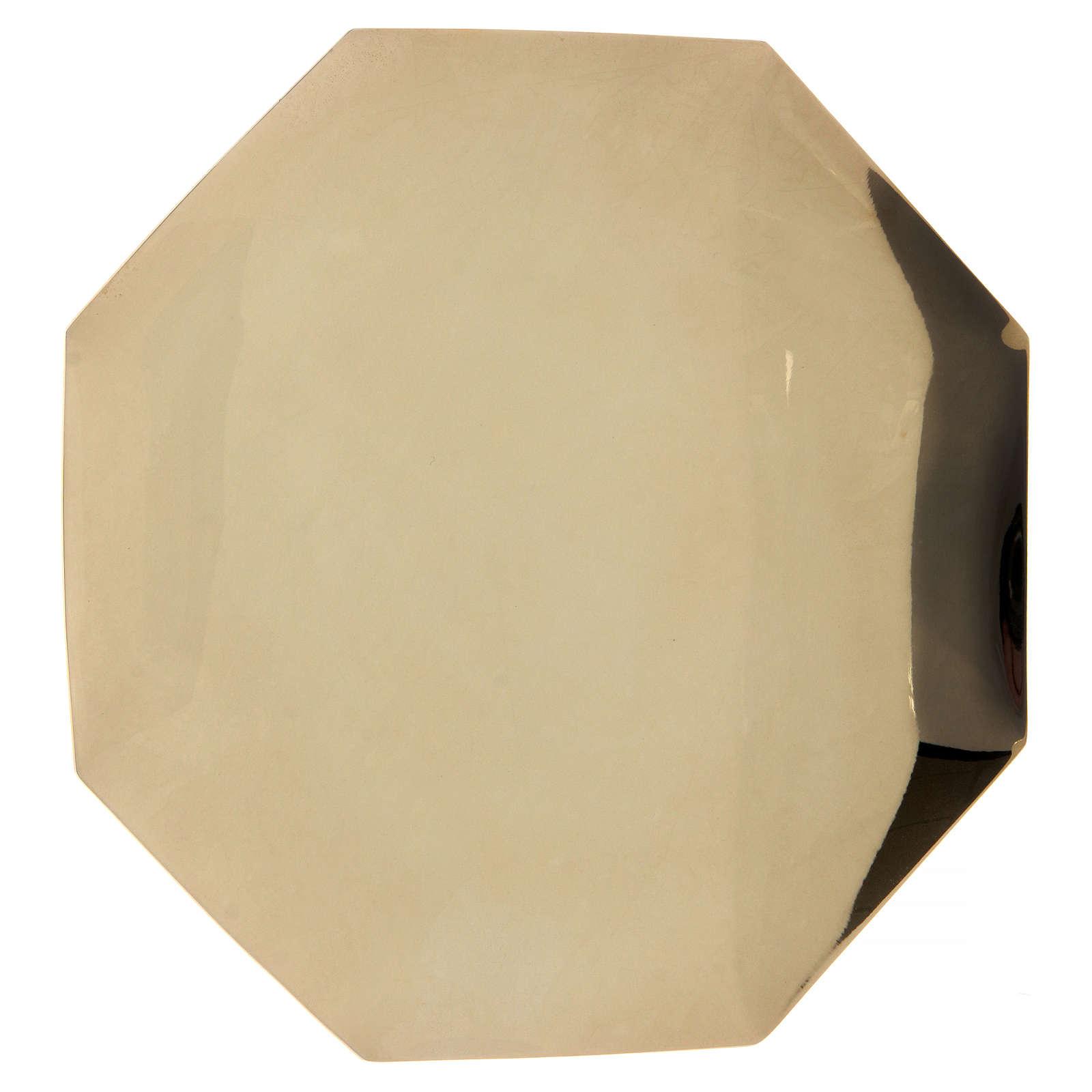 Patena ottagonale Forma Fluens ottone dorato diam 21 cm 4