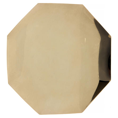 Patena ottagonale Forma Fluens ottone dorato diam 21 cm 1