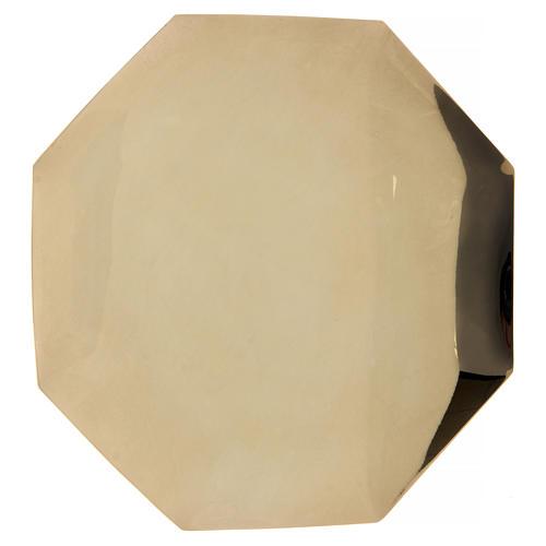 Octagonal paten in brass 8 in diameter 1