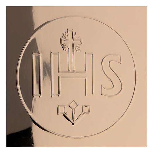 Patena IHS latón dorado d. 14 cm 2