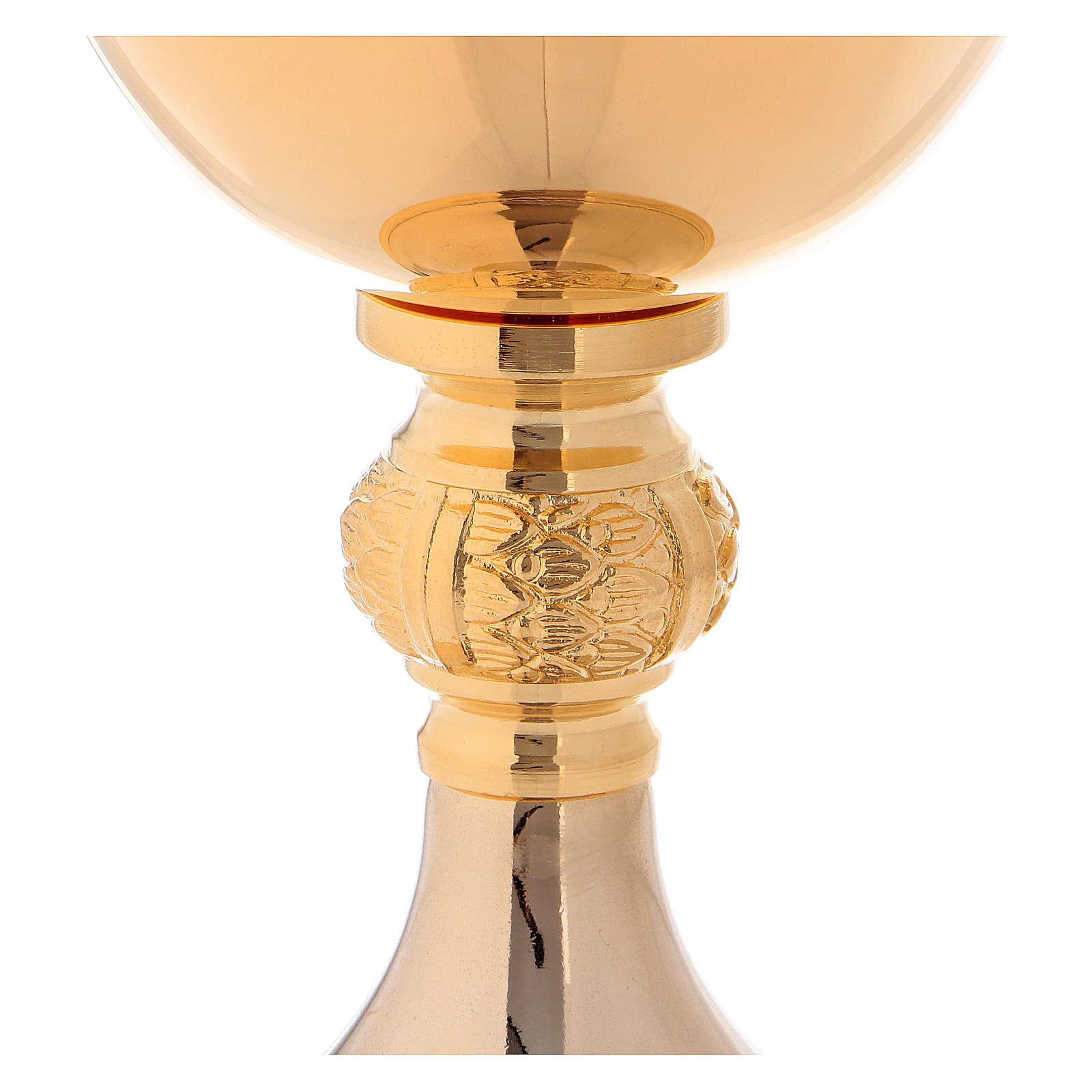 Calice e Pisside in ottone dorato lucido nodo con foglie in fusione 4