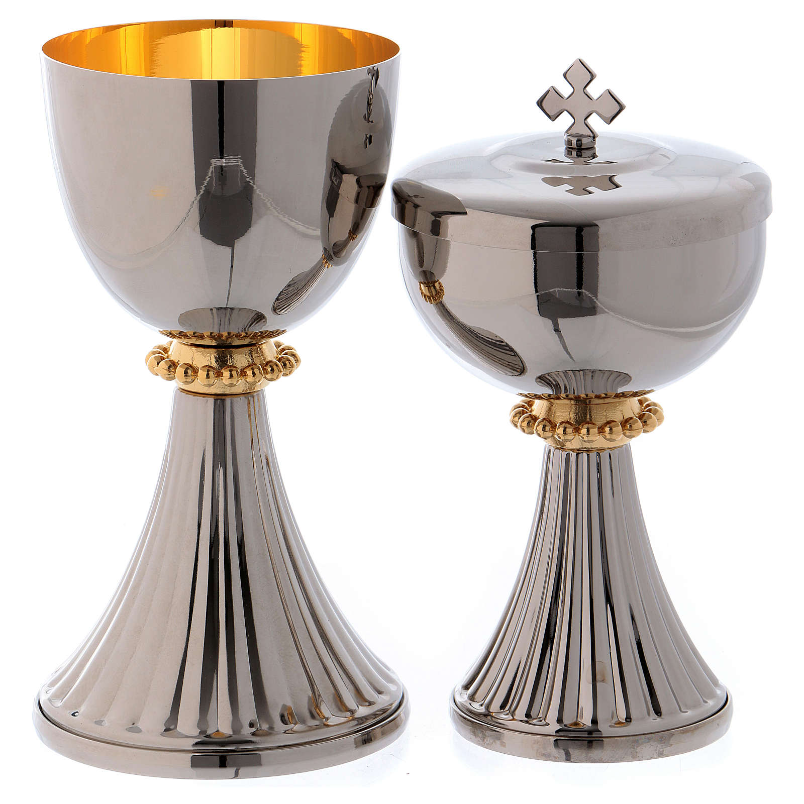 Calice et ciboire Saint Germain laiton argenté intérieur doré 4