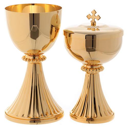 Calice e Pisside San Germano ottone dorato 1
