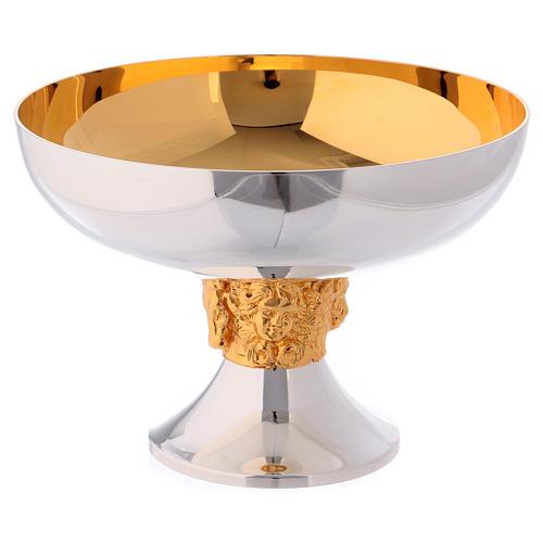 Chalice, ciborium and paten set in brass with symbols of the Evangelists, Molina 6
