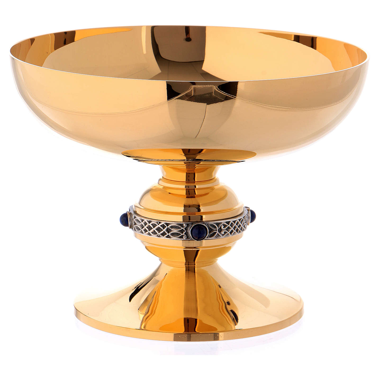Chalice, ciborium and paten set in chiseled brass with lapis lazuli, Molina 4