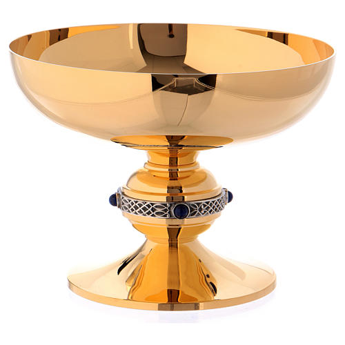 Chalice, ciborium and paten set in chiseled brass with lapis lazuli, Molina 6