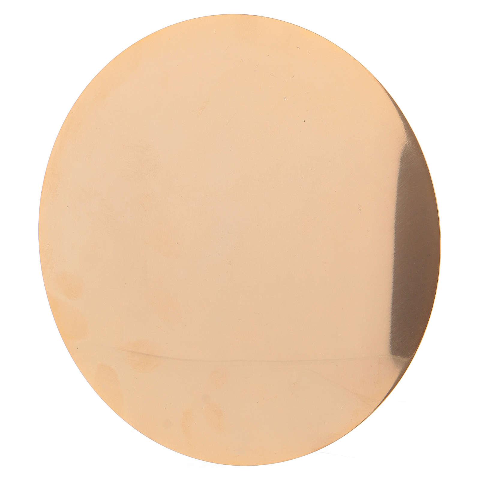 Calice et patène 20 cm en laiton doré brillant 4