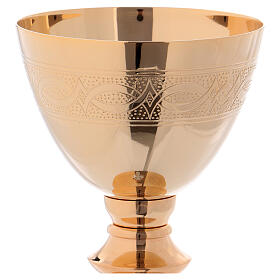 Chalice and Paten 20 cm in polished golden brass s2