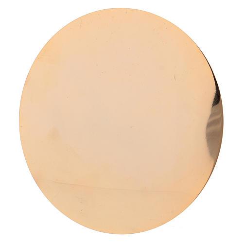 Cáliz y Patena de latón dorado con motivo tallado 20 cm 6