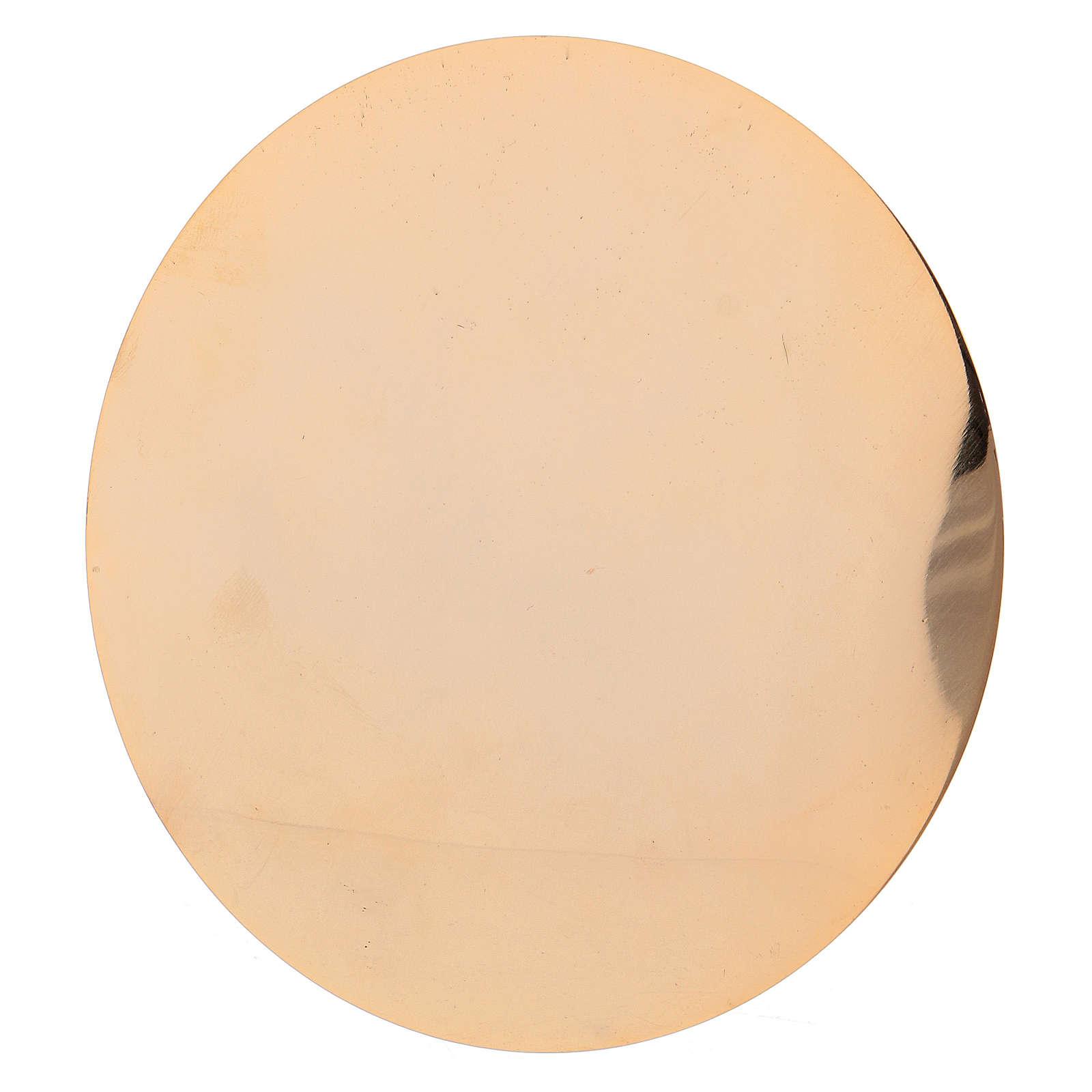 Calice et patène en laiton doré avec décoration gravée 20 cm 4