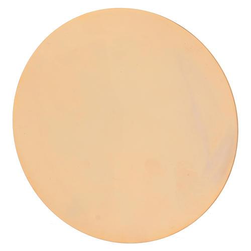 Calice et patène en laiton doré avec décoration gravée 20 cm 5