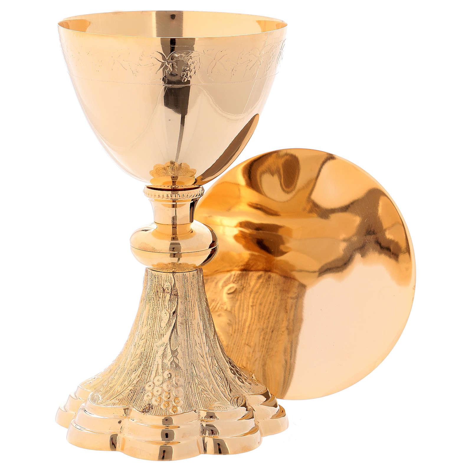 Calice e Patena in ottone dorato decorazioni vite e uva h. 22 cm 4