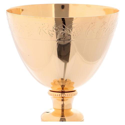 Calice e Patena in ottone dorato decorazioni vite e uva h. 22 cm 2