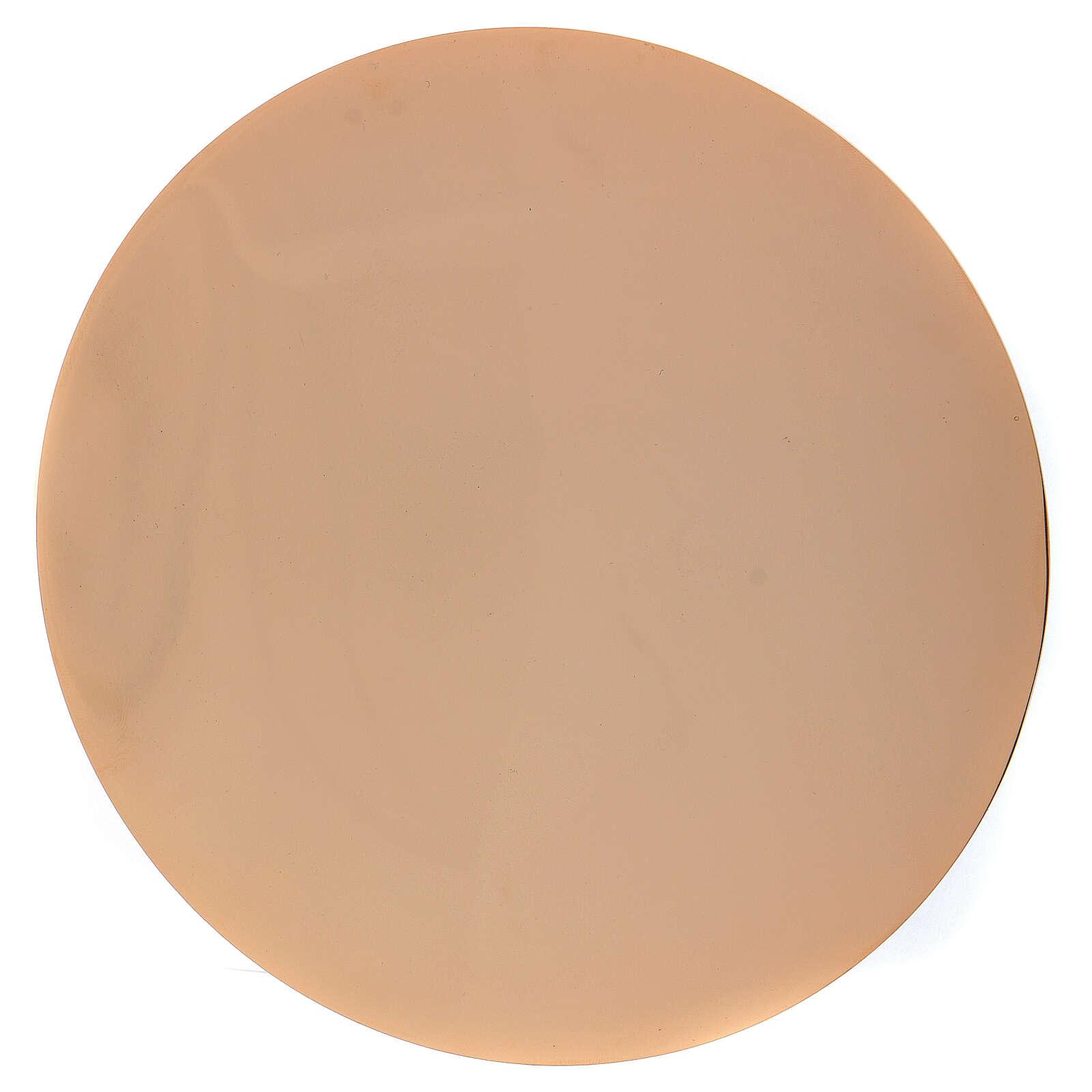 Paten in golden brass with a diameter of 14 cm 4