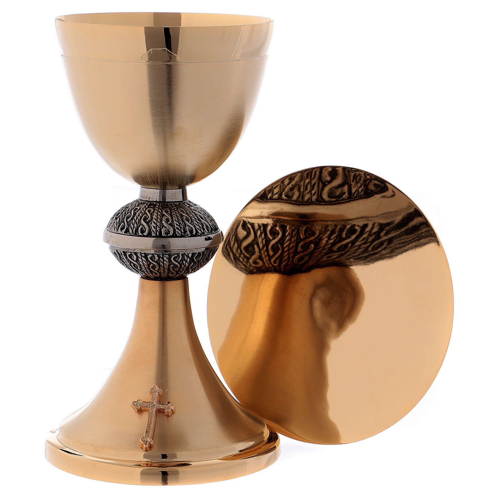Chalice with decorations and paten 13 cm matt golden brass 4