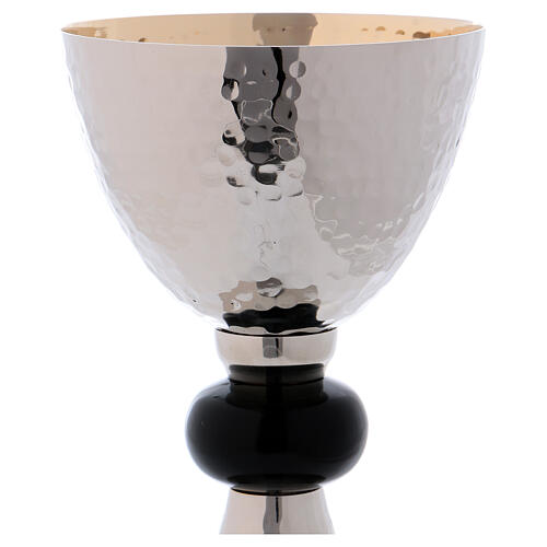 Silver chalice with black knot and golden paten 2
